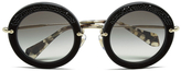 Miu Miu Women's Round Crystal Sunglasses Black