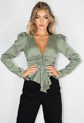 Missguided Khaki Satin Button Cinched Waist Blouse