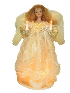 Kurt Adler 12-Inch Ul 10-Light Ivory Angel Treetop with Fabric Hair