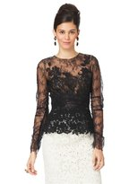 Oscar de la Renta Long Sleeve Lace Blouse