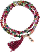 Footnotes Womens Red Brass Beaded Bracelet