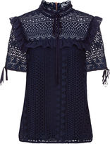 Perseverance London Navy Guipere Lace Victoriana Blouse