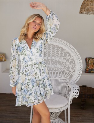 Forever New Mae Long-Sleeve Ruffle Mini Dress - Provincial Blue Floral - 10