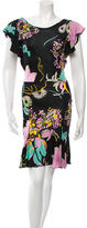 Blumarine Floral Print Ruffle-Trimmed Dress