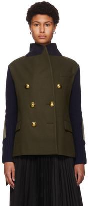 Sacai Khaki and Navy Wool and Knit Blazer