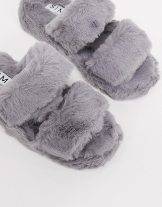 Simmi Shoes Simmi London fluffy slippers in grey
