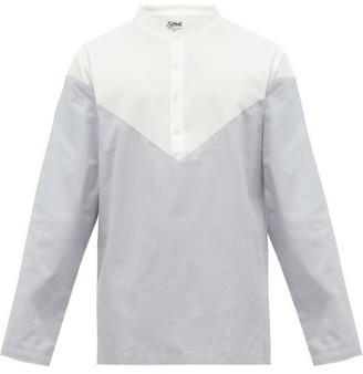P. Le Moult - Panelled Cotton-twill Pyjama Top - Mens - Light Blue