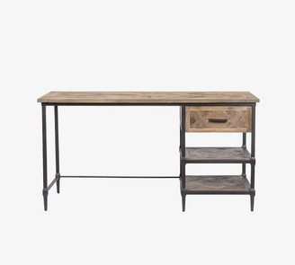 "Pottery Barn Parquet 56"" Reclaimed Wood Desk with Drawer"