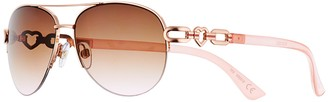 So Women's SO Open Heart Temple Metal Aviator Sunglasses