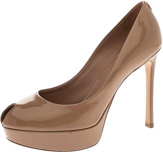 Louis Vuitton Beige Patent Leather Logo Peep Toe Platform Pumps Size 37.5