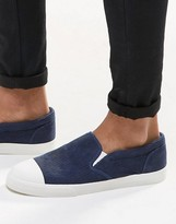 Asos Slip On Sneakers in Navy Cord With Toe Cap