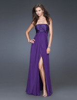 La Femme Elegant Embellished Straight Across A-Line Dress 15935