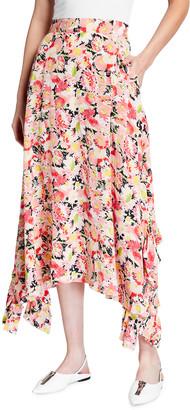 Stella McCartney Watercolor Floral Print Silk Maxi Skirt