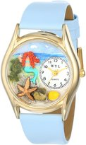 Whimsical Watches Kids' C1210011 Classic Gold Mermaid Baby Blue Leather And Goldtone Watch