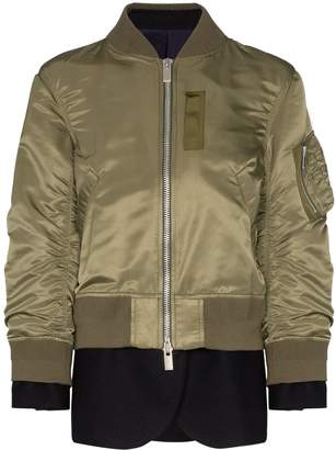 Sacai layered bomber jacket