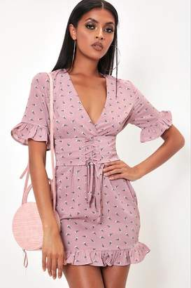 I SAW IT FIRST Dusky Pink Floral Lace Up Detail Tea Dress