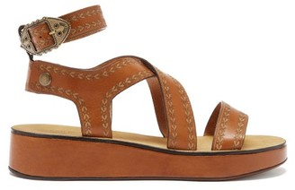 Isabel Marant Nuriee Leather Flatform Sandals - Tan