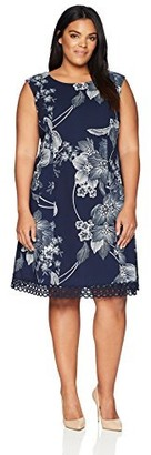Sandra Darren Women's Size 1 Pc Plus Extended Shoulder Fit & Flare Scuba Crepe Dress
