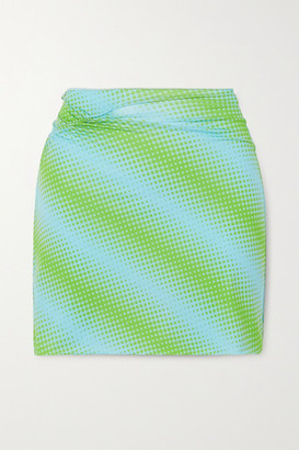 MAISIE WILEN Ruched Printed Stretch-jersey Mini Skirt - Green