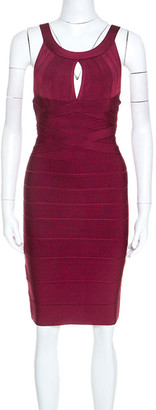 Herve Leger Dark Maroon Keyhole Detail Iridessa Bandage Dress M