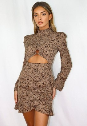 Missguided Rust Dalmatian Print High Neck Cut Out Mini Dress