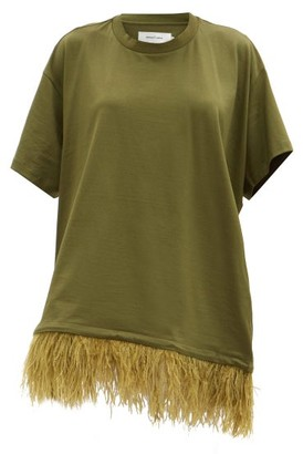 Marques Almeida Feathered-hem Cotton T-shirt Dress - Khaki