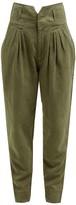 Frame Pleated High-rise Slim-fit Trousers - Womens - Khaki