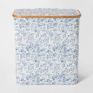 Threshold Soft Sided Laundry Hamper With Bamboo Rim Lid - Floral Blue - ThresholdTM