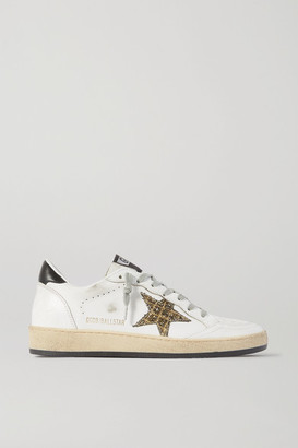Golden Goose Ball Star Glittered Distressed Leather Sneakers - White