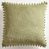 Pier 1 Imports Basketweave Pompoms Green Pillow