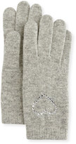 Portolano Crystal-Cuff Wool-Blend Gloves, Light Heather Gray