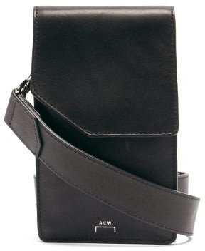 A-Cold-Wall* Logo-print Cracked-leather Cross-body Bag - Black