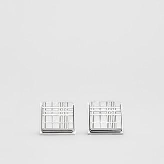 Burberry Palladium-plated Check-engraved Square Cufflinks