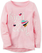 Carter's Kind Is Cool Graphic-Print Long-Sleeve Cotton T-Shirt, Toddler Girls (2T-4T)