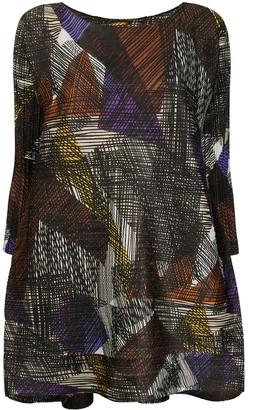 Pleats Please Issey Miyake Embroidered Geometric-Pattern Sack Blouse