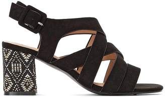 La Redoute Collections Faux Suede Patterned Heel Cross Strap Sandals