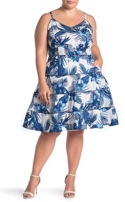City Chic Hawaii Tropical Print Fit & Flare Dress (Plus Size)