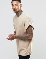 Asos Super Oversized T-Shirt With Roll Sleeve In Beige