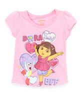 Children's Apparel Network Pink Dora the Explorer 'BFF' Puff-Sleeve Tee - Toddler