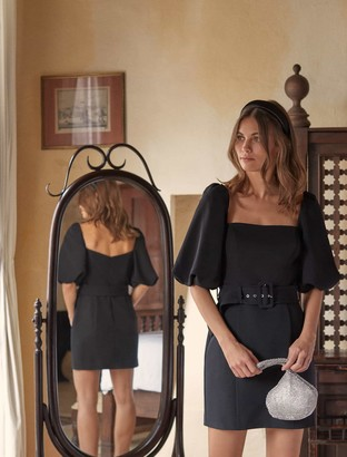 Forever New Henley Puff Sleeve Mini Dress - Black - 10