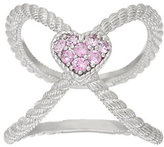 Judith Ripka As Is Sterling Pink Sapphire Heart X Ring