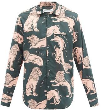 Desmond & Dempsey Circe Lion-print Cotton-poplin Pyjama Shirt - Pink Multi