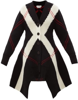 Alexander McQueen Argyle-knit Wool-blend Cardigan - Black Multi