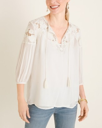 Chico's Beaded Peasant Blouse