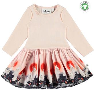 Molo Girl's Candi Ribbed Dress w/ Animal Print Skirt, Size 6-18 Months