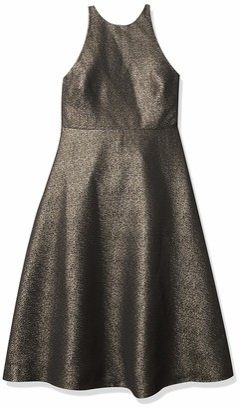 Halston Women's Sleeveless Glitter Jacquard Dress with Back Bow