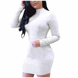 AMhomely Women Dresses Promotion Sale Clearance Women Sexy Temperament Long Sleeve Skirt Beaded O-Neck Pullover Dress Plus Size Dress Party Elegant Dress Vintage Dress UK Size White