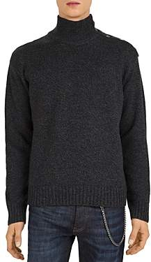The Kooples Button-Detail Funnel Neck Sweater