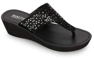 Kenneth Cole Reaction Fine Glitz Lasercut Wedge Thong Sandal
