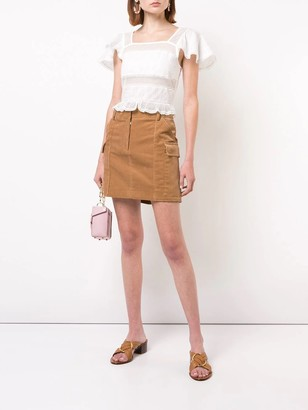 ALEXACHUNG Square Neck Cropped Blouse